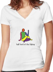 Half lord of the fishes yoga pose Sanskrit Women's Fitted V-Neck T-Shirt