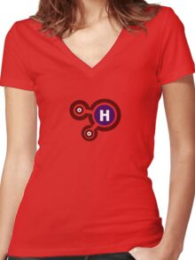 H²O Molecule Women's Fitted V-Neck T-Shirt