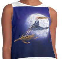 Turtle Girl rides the full moon. Contrast Tank