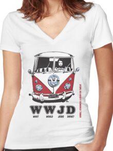 WWJD ? Women's Fitted V-Neck T-Shirt