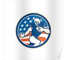 American Football Running Back Fending Circle Poster