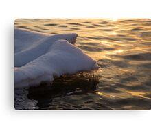 Happy Sunset Ice - the Icy Snowbanks Reflecting in the Lake Canvas Print