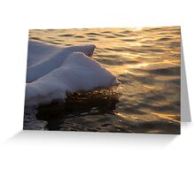 Happy Sunset Ice - the Icy Snowbanks Reflecting in the Lake Greeting Card