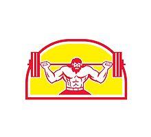 Bodybuilder Lifting Barbell Retro by patrimonio