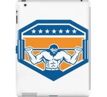 Bodybuilder Lifting Barbell Shield Retro iPad Case/Skin