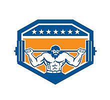 Bodybuilder Lifting Barbell Shield Retro by patrimonio