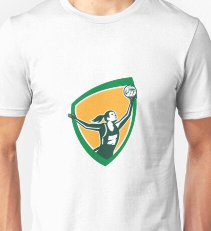 Netball Player Catching Ball Shield Retro Unisex T-Shirt