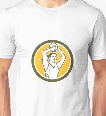 Netball Player Shooting Ball Circle Retro Unisex T-Shirt