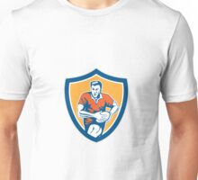 Rugby Player Running Ball Shield Retro Unisex T-Shirt