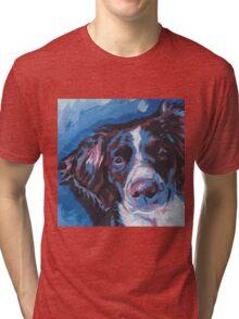 Brittany Spaniel Bright colorful pop dog art Tri-blend T-Shirt