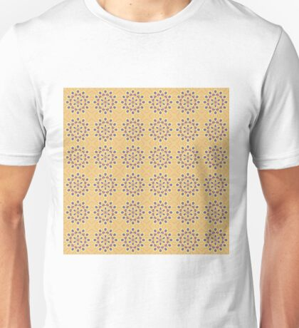 Retro Blue and Tan Floral Pattern Unisex T-Shirt