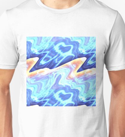 Psychedelic Blue Wave Pattern Unisex T-Shirt