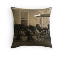 Old house and wagon Throw Pillow