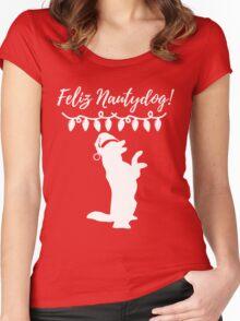Feliz Naughtydog Christmas Dog Women's Fitted Scoop T-Shirt