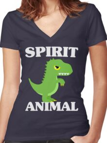 T-Rex Is My Spirit Animal - Cute Dinosaur Women's Fitted V-Neck T-Shirt