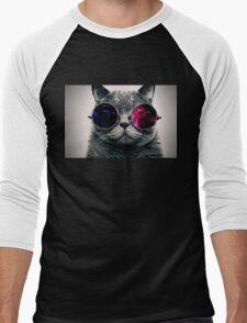 Space Glasses Cat Men's Baseball ¾ T-Shirt
