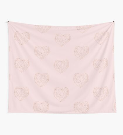 Rose gold geometric heart Wall Tapestry
