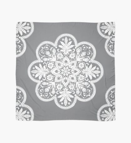 Floral Doily Pattern   Grey and White Scarf