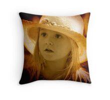 A little girl at the Markets Throw Pillow