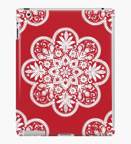 Floral Doily Pattern   Red and White iPad Case/Skin