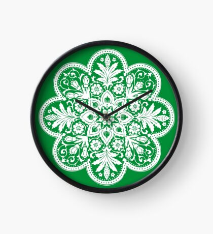 Floral Doily Pattern   Green and White Clock