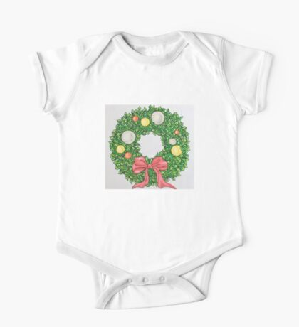 Red Ribbon Wreath One Piece - Short Sleeve