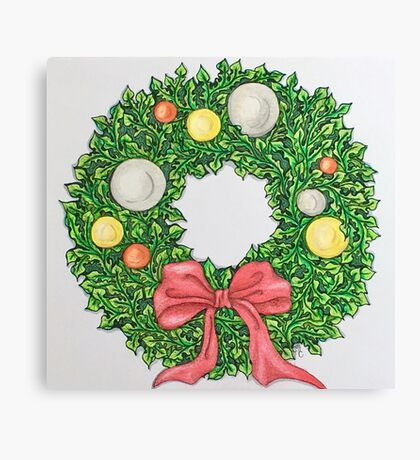 Red Ribbon Wreath Canvas Print