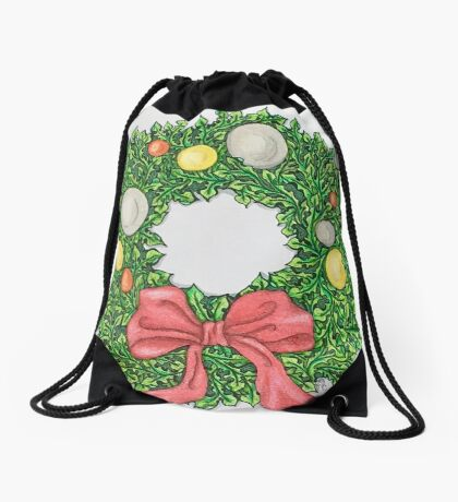 Red Ribbon Wreath Drawstring Bag