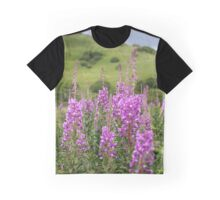 Fireweed on a Mountain Photography Print Graphic T-Shirt