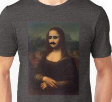 Mona Lisa Sunglasses and Moustache Design Unisex T-Shirt