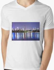 Melbourne by Night Mens V-Neck T-Shirt