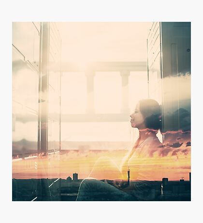 Portrait of Young Woman with Double Exposure Effect Photographic Print