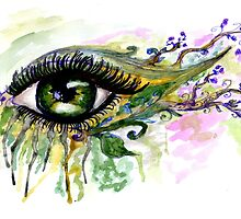Green Eye with floral by AnnArtshock