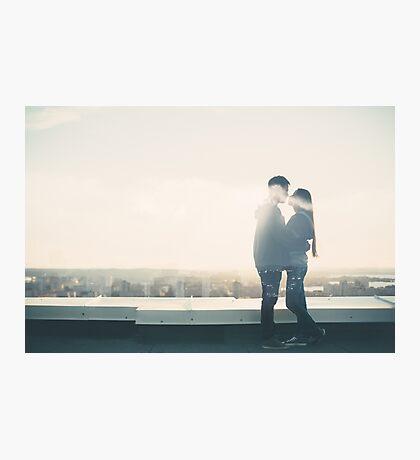 Double Exposure Portrait of Loving Couple Photographic Print