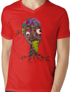 Nicotine Color Mens V-Neck T-Shirt