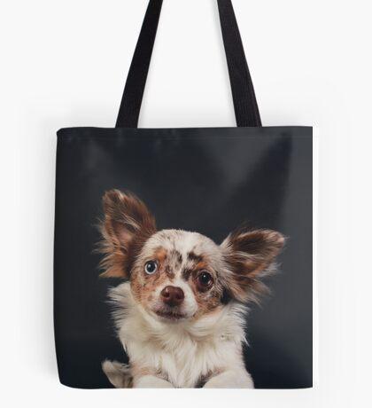 Chihuahua - Red merle on black / dog blue eye odd longhair cute bff friend tiny dog Tote Bag