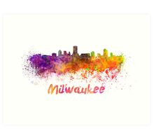 Milwaukee skyline in watercolor Art Print