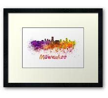 Milwaukee skyline in watercolor Framed Print
