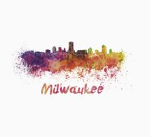 Milwaukee skyline in watercolor Kids Clothes