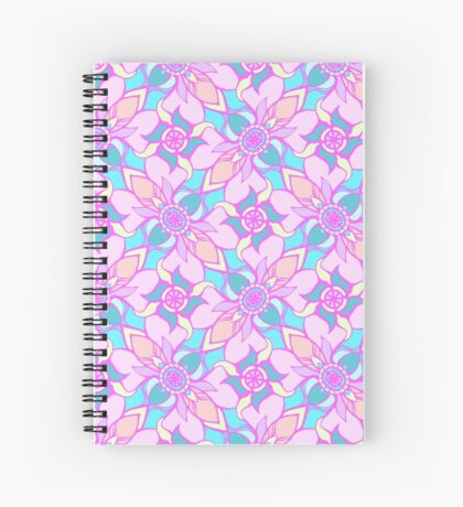 Rose Quartz and Serenity hand drawn floral pattern Spiral Notebook