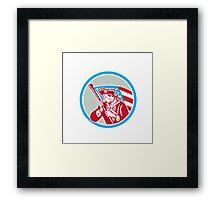 American Patriot Soldier Waving Flag Circle Framed Print