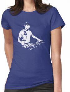 DJ Spock mixing on the decks (star trek) Womens Fitted T-Shirt
