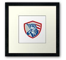 American Patriot Soldier Waving Flag Shield Framed Print