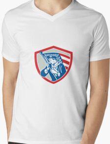 American Patriot Soldier Waving Flag Shield Mens V-Neck T-Shirt