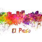 El Paso skyline in watercolor by paulrommer
