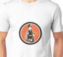 Fireman Firefighter Holding Fire Axe Circle Unisex T-Shirt