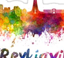 Reykjavik skyline in watercolor Sticker