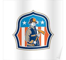 American Fireman Firefighter Fire Axe Shield Poster