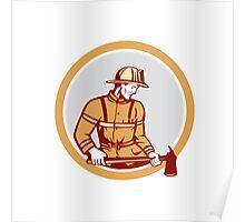 Fireman Firefighter Holding Fire Axe Circle Poster