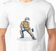 Fireman Firefighter Standing Holding Fire Axe Unisex T-Shirt